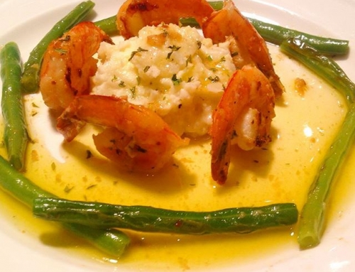 Shrimp and cauliflower puree
