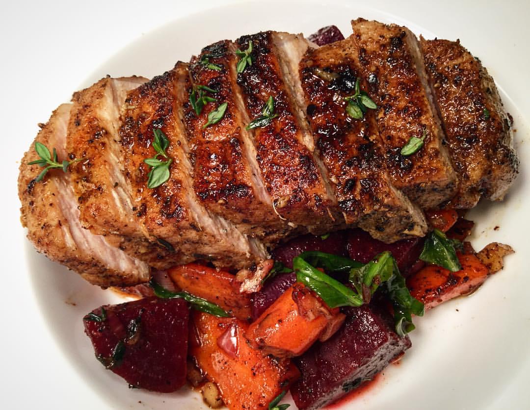 Blacken pork tender loin
