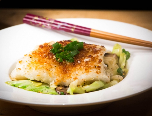 Codfish and udon noodles
